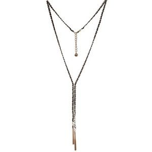 BCBG Gold & Black Rope Y Necklace